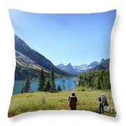 Cosley Ridge Over Cosley Lake - Glacier National Park Throw Pillow
