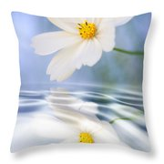 Cosmea Flower - Reflection In Water Throw Pillow