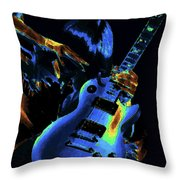 Cosmic Rock Guitar Throw Pillow
