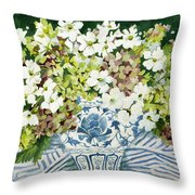Cosmos And Hydrangeas In A Chinese Vase Throw Pillow