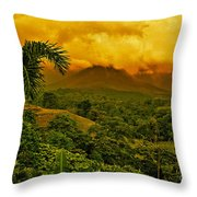 Costa Rica Volcano Throw Pillow