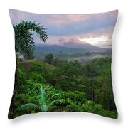 Costa Rica Volcano View Throw Pillow
