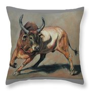 Costa Rican Red Bull Throw Pillow