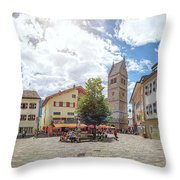 Cosy Old Mountain Village Throw Pillow