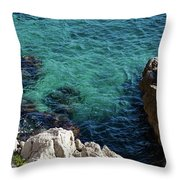 Cote D Azur - Stark White And Silky Azure Blue Throw Pillow