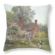Cottage At Chiddingfold Throw Pillow by Helen Allingham