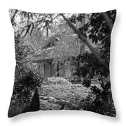 Cottage Black White Gardens Louisiana  Throw Pillow