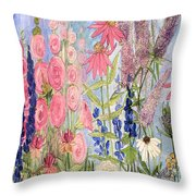 Cottage Flowers With Dragonfly Throw Pillow