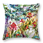 Cottage Garden Angel And Irises Throw Pillow