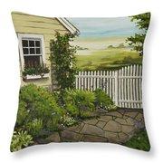 Cottage Garden Beach Getaway Throw Pillow