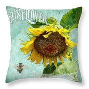 Cottage Garden - Sunflower Standing Tall Throw Pillow