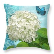 Cottage Garden White Hydrangea With Blue Butterfly Throw Pillow