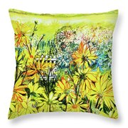 Cottage Gate Seen Through Sun Daisies Throw Pillow