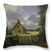 Cottage In A Cornfield Throw Pillow by John Constable