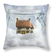 Cottage In Snow Throw Pillow