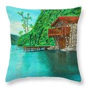 Cottage On Lake  Throw Pillow
