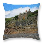 Cottage On Rocks At Port Quin - P4a16009 Throw Pillow