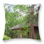 Cottage Orange Island  Louisiana  Throw Pillow