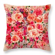 Cottage Roses Throw Pillow