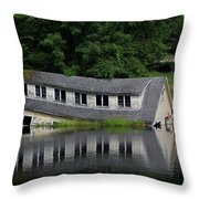 Cottage Sinking In The Rideau Canal Throw Pillow