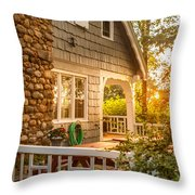Cottage Sunset In Deep Cove, Nova Scotia Throw Pillow