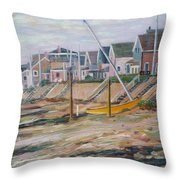 Cottages Along Moody Beach Throw Pillow