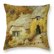 Cottages At Selworthy, Somerset Throw Pillow
