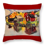 Cottages By A Lake In Autumn  Throw Pillow