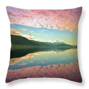 Cotton Candy Clouds At Skaha Lake Throw Pillow