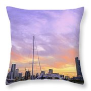 Cotton Candy Sunset Over Miami Throw Pillow