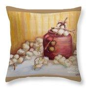 Cotton Plant Throw Pillow