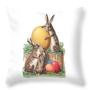 Cottontails And Eggs Throw Pillow