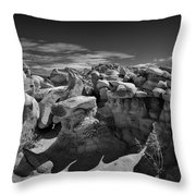Cottonwood Creek Strange Rocks 2 Bw Throw Pillow by Roger Snyder