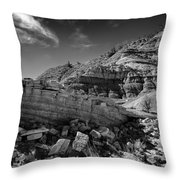 Cottonwood Creek Strange Rocks 3 Bw Throw Pillow by Roger Snyder