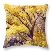 Cottonwood Golden Leaves Throw Pillow