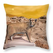 Cougar In The Mountain - 3d Render Throw Pillow