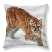 Cougar In The Snow Throw Pillow