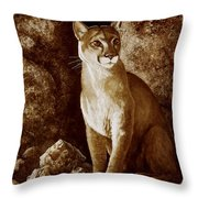 Cougar Wait Until Dark  Throw Pillow