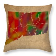 Counties Of Connecticut Colorful Vibrant Watercolor State Map On Old Canvas Throw Pillow