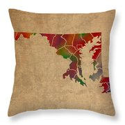 Counties Of Maryland Colorful Vibrant Watercolor State Map On Old Canvas Throw Pillow