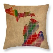 Counties Of Michigan Colorful Vibrant Watercolor State Map On Old Canvas Throw Pillow