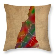 Counties Of New Hampshire Colorful Vibrant Watercolor State Map On Old Canvas Throw Pillow