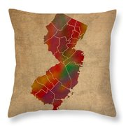 Counties Of New Jersey Colorful Vibrant Watercolor State Map On Old Canvas Throw Pillow
