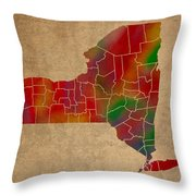 Counties Of New York Colorful Vibrant Watercolor State Map On Old Canvas Throw Pillow