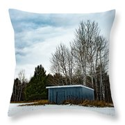 Country Barn In The Snow Throw Pillow
