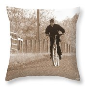 Country Boy And His Bike Throw Pillow