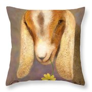 Country Charms Nubian Goat With Daisy Throw Pillow