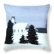 Country Church In Winter Throw Pillow