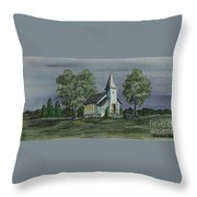 Country Church On A Summer Night Throw Pillow