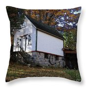 Country Cottage In Autumn Throw Pillow
